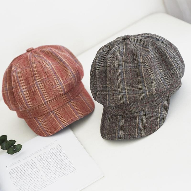 Achteckige Hüte Frauen britisch Casual Plaid Baset Hut Atmungsaktive Newsboy Cap Frühling Herbstmaler Hut