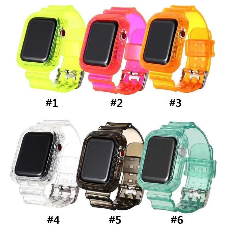 Cinta transparente de silicone de uma peça TPU para Apple Watch 6 38mm / 40mm 42mm / 44mm iWatch5 DHL