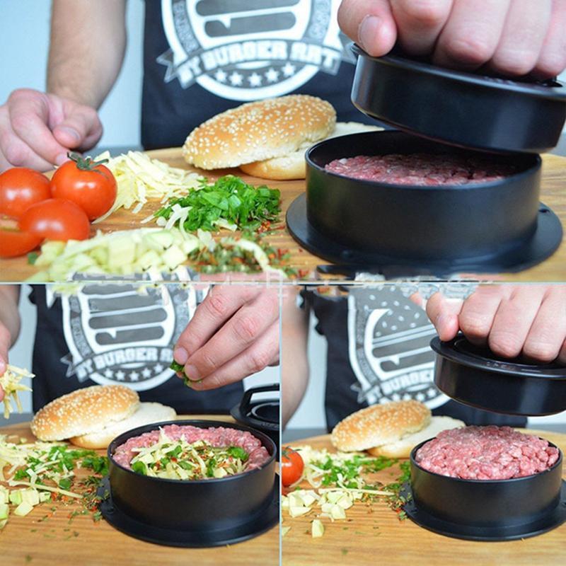 Et Basın Aracı 1 Set Ev DIY Hamburger Yuvarlak Şekil Yapışmaz Cutlets Burger Köpek Makineleri Gıda-Sınıf ABS Mutfak Et Araçları HWF2740