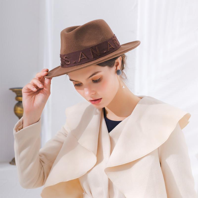 Nuevo sombrero de fedoras de lana de moda para mujeres Sombreros de lana de jazz Classical Pareja Bordado Lana de lana de lana para el regalo de San Valentín Z-441
