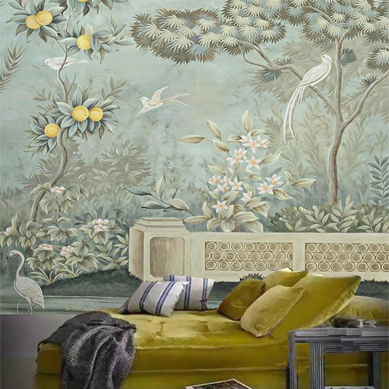 Personalizado qualquer tamanho Europeu flor e pássaro pintura estudo sala de estar sofá tv fundo parede decoração papel de parede para paredes 3d