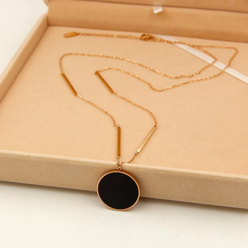 Or Rose Acier Marque Mode inoxydable Couleur Big Black Love 25mm collier pendentif grand rond chaîne Pull Femmes Coffret Cadeau 201104