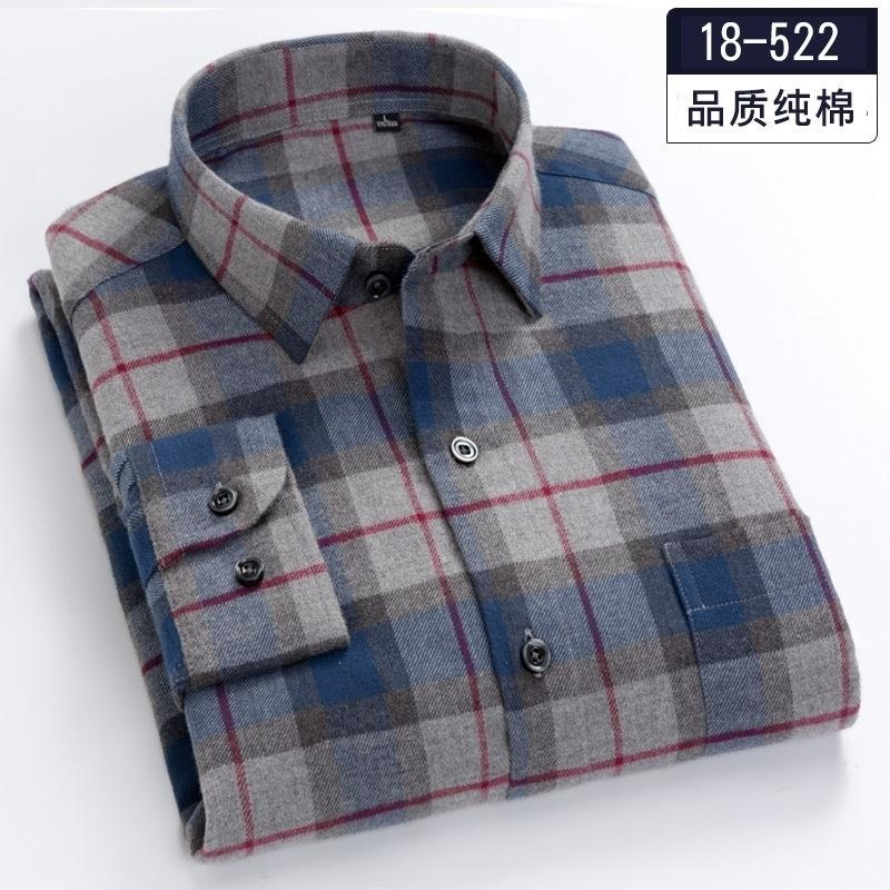 Talla grande 5xl 6xl 7xl 8xl 100% algodón a cuadros fannel grueso manga larga hombre camisa gorda chico moda otoño / ropa de invierno 120kg 130kg y200107