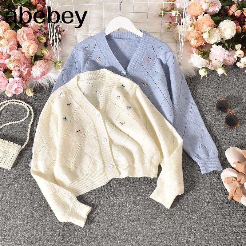 Цветочные вышивка женщины свитер пальто с длинным рукавом V-образным вырезом вязаный трикотаж Новый Корейский причинный короткий кардиган 4D245 2012