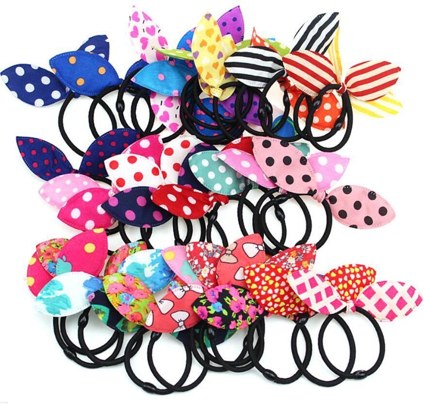 CALIENTE bandas elásticas para el cabello cintas para el pelo estilo conejito oídos de conejo Arcos HairBands rayas Dots niñas Ponytail de accesorios para el cabello de goma chica pony