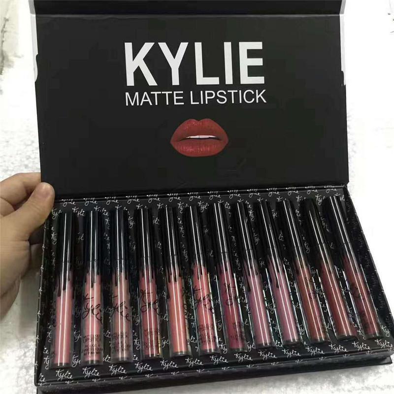 카일리 제너 립글로스는 %의 kyshadow 폭풍 핑크 걸릴 나를 가을 12 색 매트 리퀴드 립스틱 화장품 12PCS 립글로스 립 글로스 세트