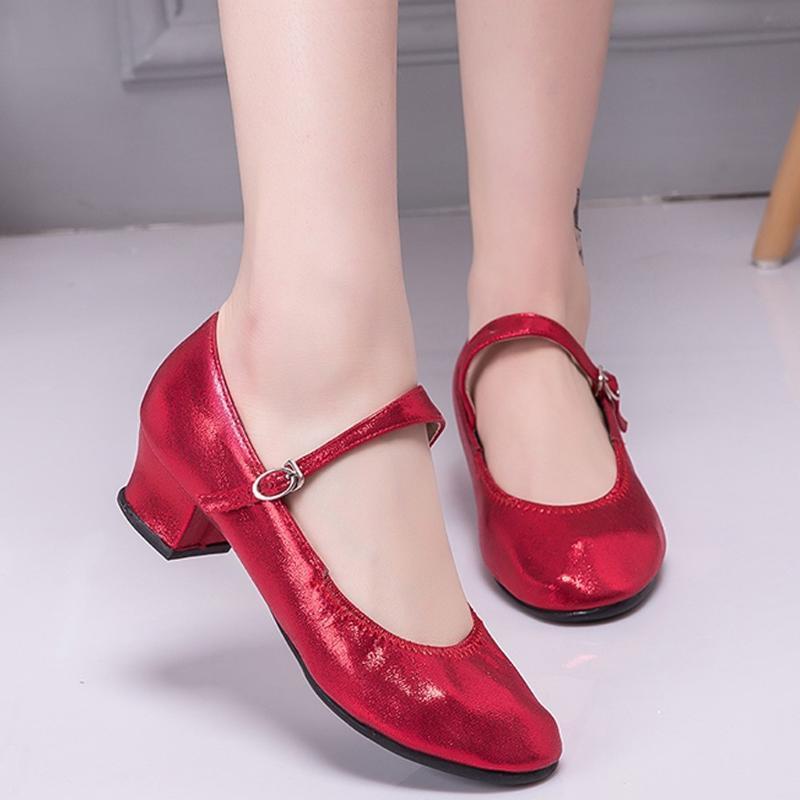 Красный женщин бальных латинских танцев Обувь женская атласная Закрытый носок Salsa Tango Waltz танцевальная обувь Тонкий каблук 5,5 см Современные кроссовки СОФЭ