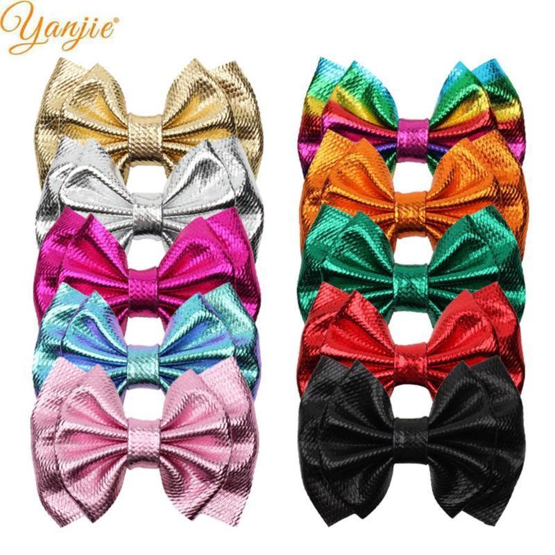 10pcs/lot 6'' Large Metallic Fabric Hair Bows For Kids New Barrette Hair Clip Headband DIY Women Girls Accessories