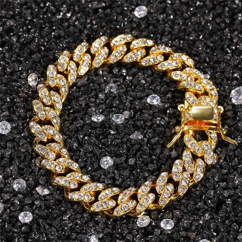 Pulsera Hop 12mm 7/8 pulgadas pulseras plateado oro del Rhinestone Bling hacia fuera helada cadera joyería Hombres Mujeres
