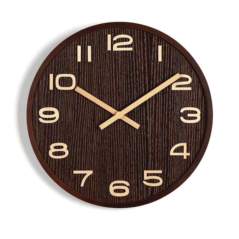 16/14/12/10 '' in legno Forma decorativo Orologio da parete tondo in numeri design stile semplice orologio appeso per la decorazione domestica