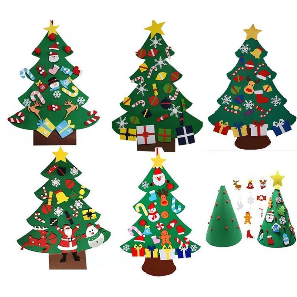 Arbre de Noël créatif Bricolage Felt Cadeaux Nouvel An Enfants Jouets mur artificiel Hanging Décorations de Noël Décoration pour la maison 201023