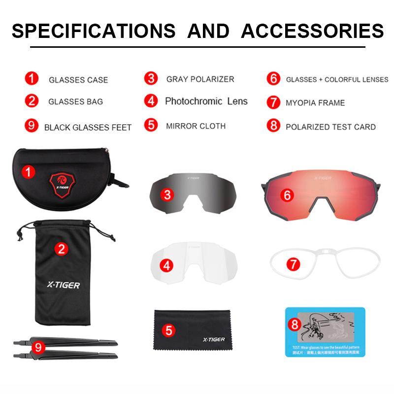 Cadre X-Tiger lunettes de cyclisme polarisée Vélo VTT PhotoChromic Sports Sports Lunettes de soleil Vélo Lunettes de plein air Myopie Vélo OUFPF