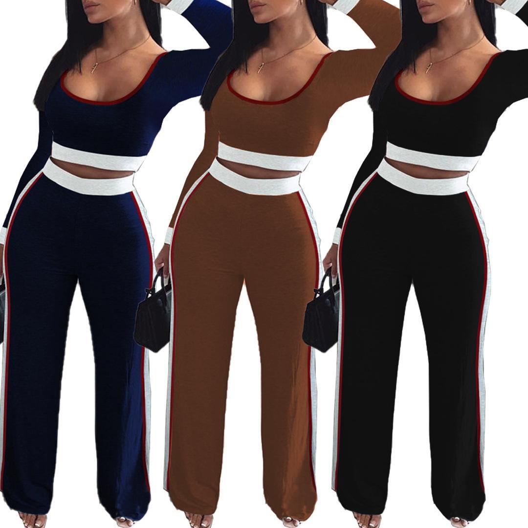 Женщины Tracksuit Два Бюстье моды Сращивание U шеи Тонкий с длинным рукавом Свободные брюки Спортивные костюмы женские сплошной цвет вскользь нарядах