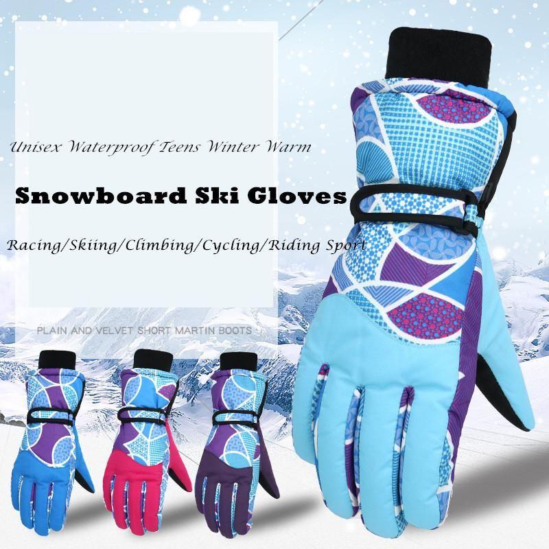 Ski Gloves 1Pair Waterproof Skiing Thicken Unisex Windproof Teens Breathable Winter Warm Cycling Snow Women Men Glove