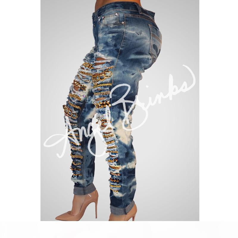 Cave chain hole ripped jeans for women washed skinny jeans woman new denim plus size high waist destroyed ladies jeans womens feet pants