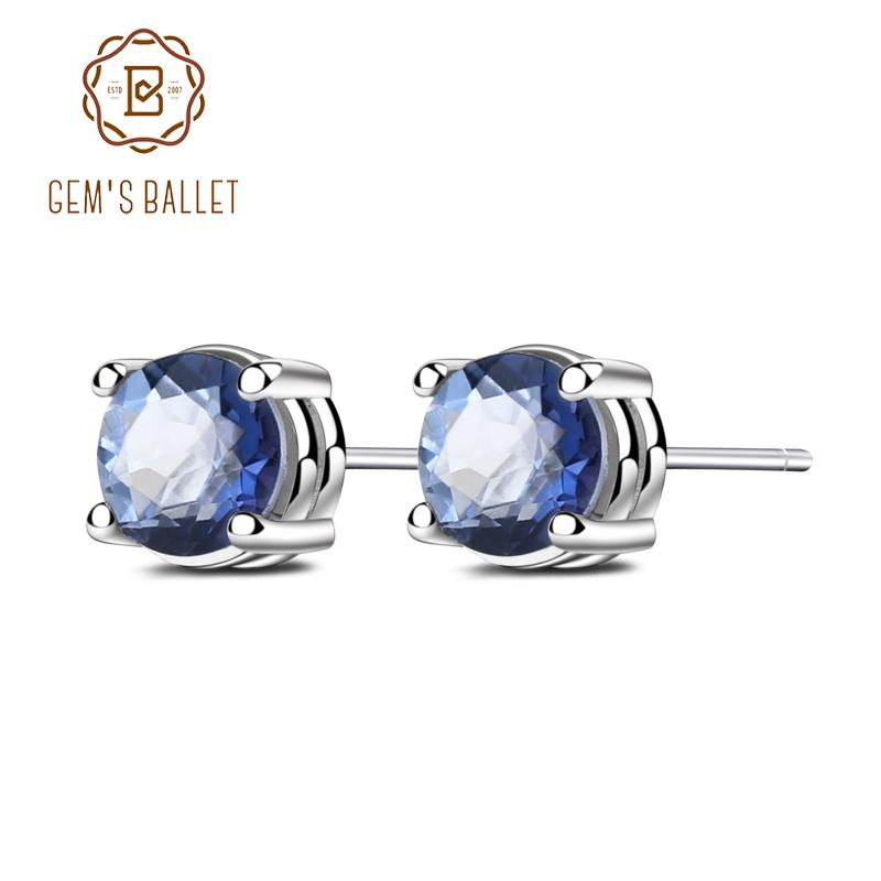 Gem's Ballet 5mm Mystic Quartz-iolite 925 Sterling Prata Natural Gemstone Principal Brincos Fine Jewelry Mulheres Presente Fashion New 201223
