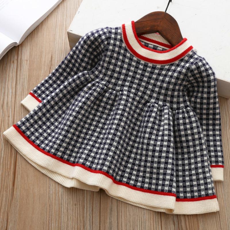 Novos bebê meninas inverno xadrez camisola vestidos de roupas criança infantil de Natal de malha vestido crianças crianças outono primavera roupas 201128