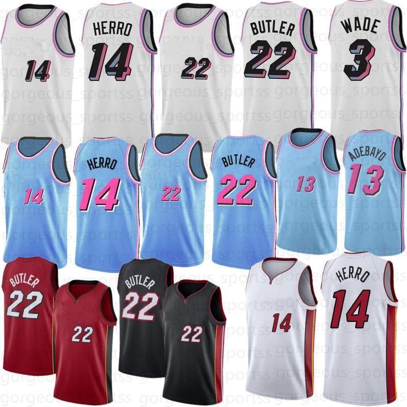 Jimmy 22 Butler Tyler 14 Harro 55 Dwyane 3 Wade Mens Jerseys 13 Adebayo Goran 7 Dragic Camiseta de Baloncesto
