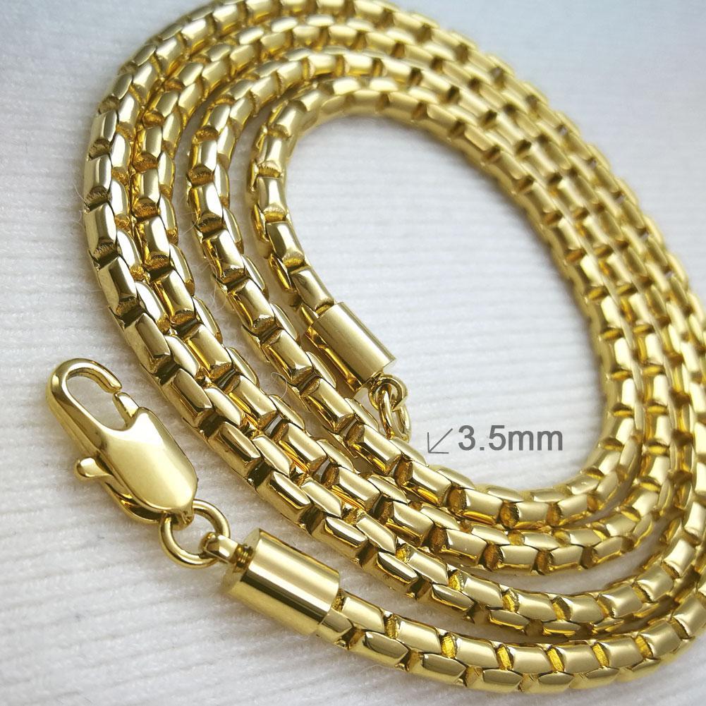 18K 18CT Gelbgold GF Mens 3,5mm-N169 Thick-Ketten-Halskette
