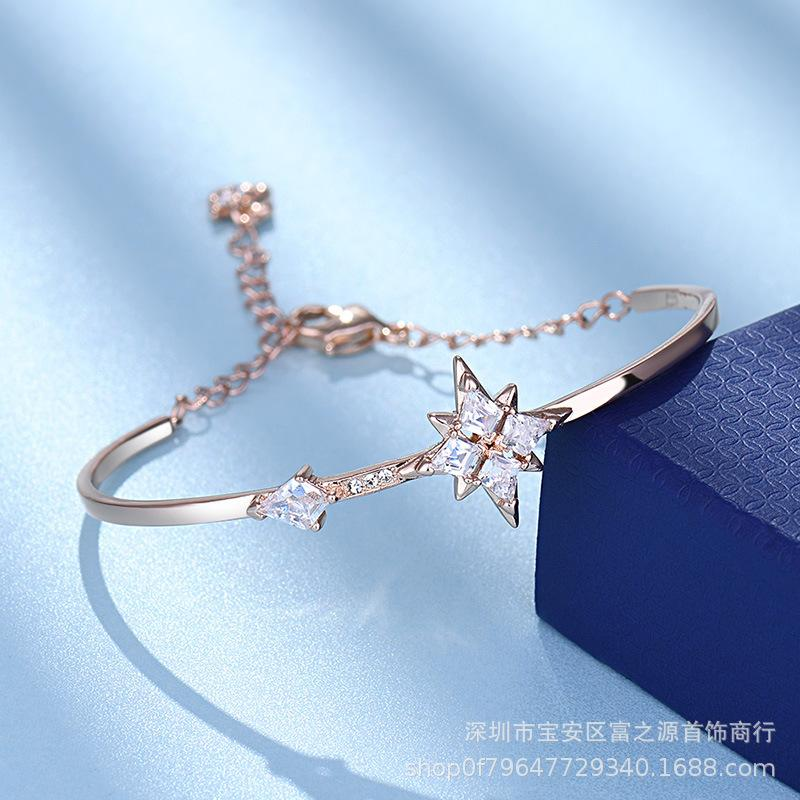 Shijia ocho puntas rosa pulsera de la estrella femenina de la luna de oro hecha de cristal del elemento de Swarovski