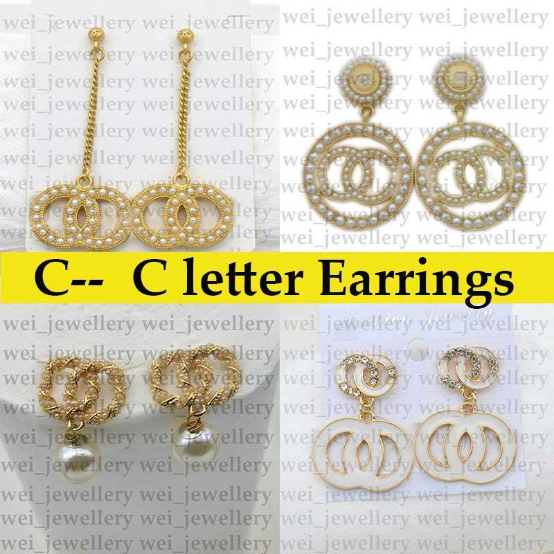 جودة عالية c رسالة مصمم أقراط للنساء الأزياء حجر الراين بيرل مربط القرط مجوهرات هدايا الذهب بالجملة