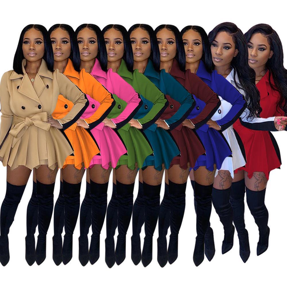 Mulheres Fall Roupa Moda Sólidos Magro Brasão Keep Warm Long Sleeve espessamento Tops Ladies Casual Nádegas saia curta roupa