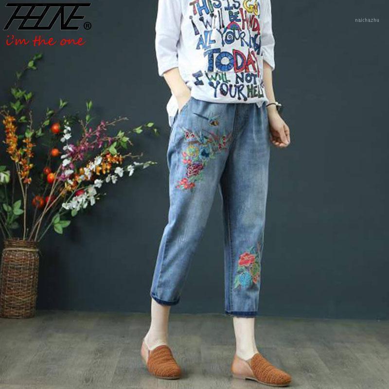 Pantalones vaqueros de bordado Pantalones de algodón de cintura alta de cintura altos Tamaño básico Casual Vintage National Style Boyfriend Vaqueros Muyer Jeans Pants1