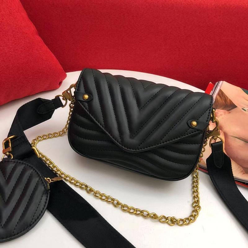 Мода Сумка на плечо Пакет Волна подлинной для новой сумки Pochette Кожаная кожаная сумка Twin Satchel Sumbing Cross Men Presbyopic Mini Body Multi Set La QJLW