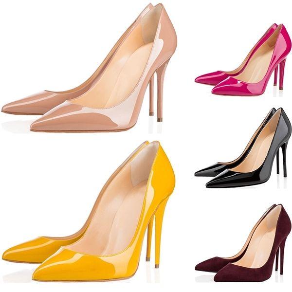 Top Quality Donne Shoes Bottoms Red Bottoms Tacchi alti Sexy Punted Toe Red Suola 8cm 10 cm Pompe da 12 cm Vieni sacchetti di polvere Scarpe da sposa 36-42