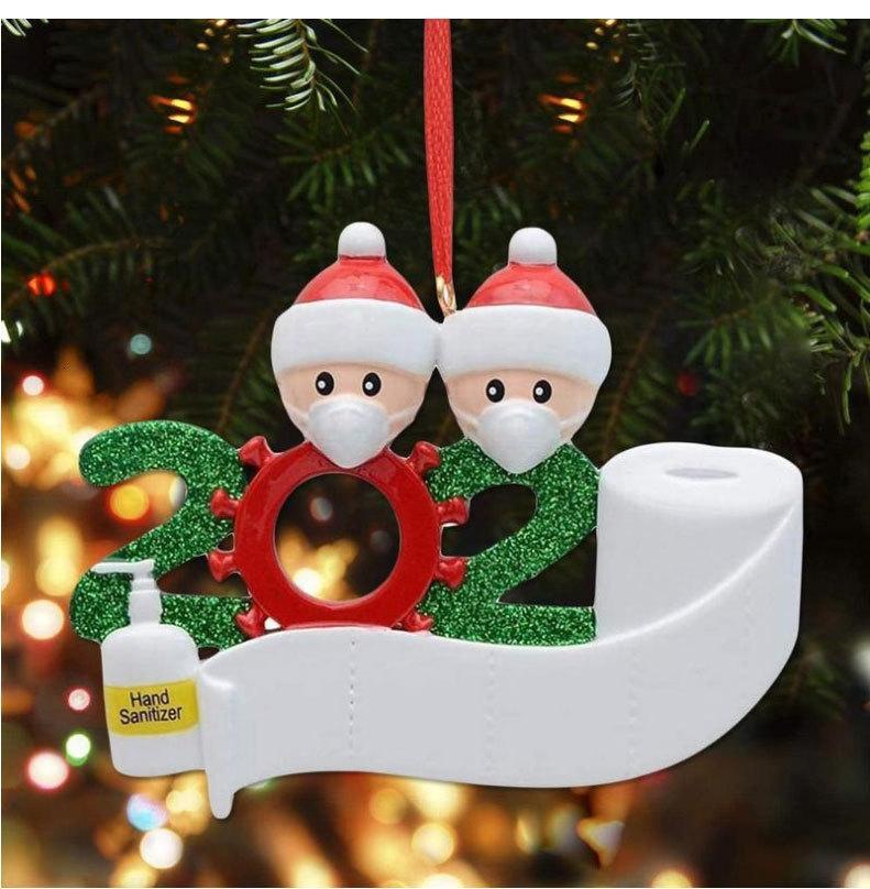 Natale in magazzino 2020 Buon nuovo pendente di Natale maschera pupazzo che indossa maschera Famiglia Decorazione natalizia Survivor regalo