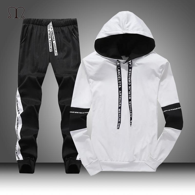 Blanc Noir Hommes Hoodies Set Marque Automne Mode Casual Survêtement Hommes Ensemble Sport Deux pièces Patchwork à capuche Pant Homme Costume 201008