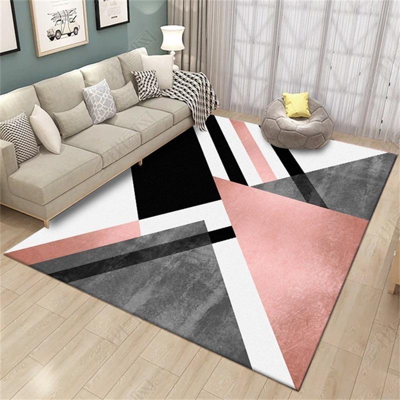 Nordic Geometric Carpet Modern Living Room Home Decoration Rug Bedroom Hallway Non Slip Mats Pink Doormats Lounge Carpet 160X230 Y200527