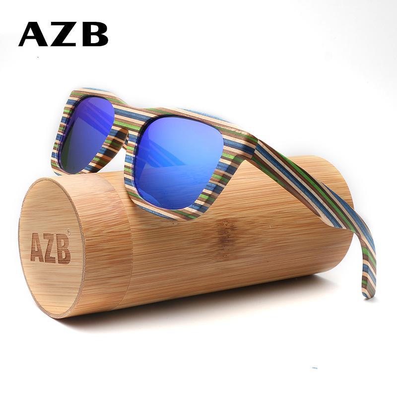 AZB поляризованные Деревянные солнечные очки площади Крупногабаритные ВС Женщины Марка Дизайнер Real Wood Glasses óculos де золь Мужчина для