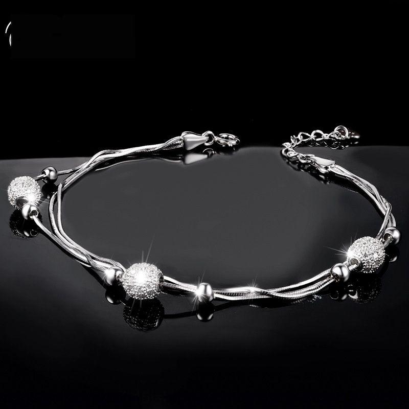 meilleurs bijoux cadeau personnalisé style ins ballsimple de zircons friendKorean S925 argent sterling braceletschoo de S925 argent sterling écolière