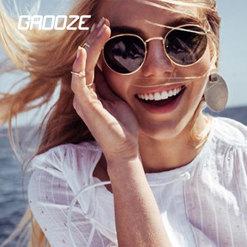 GAOOZE gafas de sol vidrios de las mujeres femeninas de las mujeres de los hombres gafas de sol redondo de cristal de gafas de sol de la vendimia de las mujeres Oculos LXD24