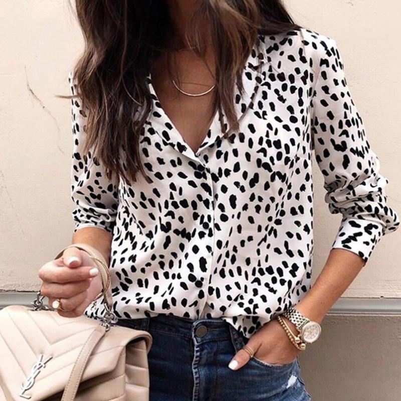 Sexy leopard drucken langarm hemd mit v-neck für frauen leichte temperament mujer de moda 2020 bluse 3xl plus größe neu