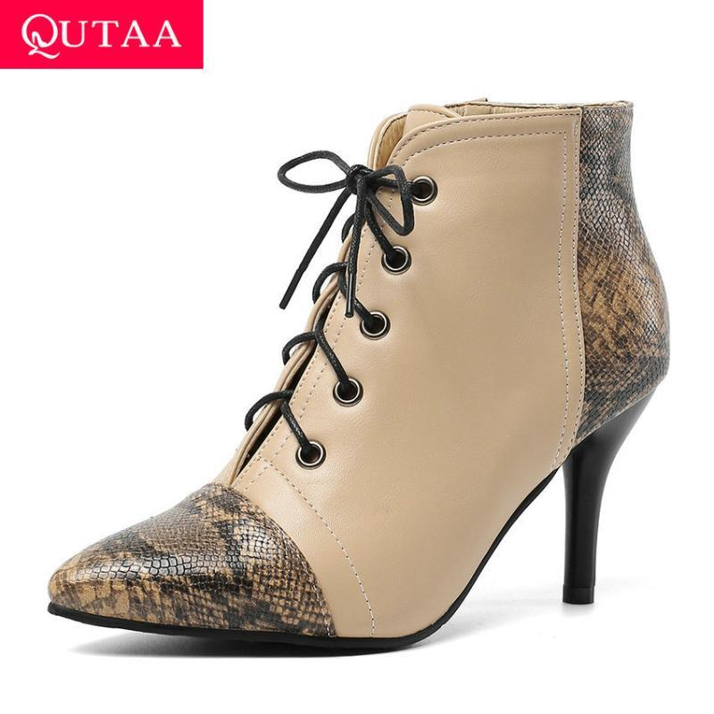 QUTA 2020 Mode Couleur Mixte Couleur En Cuir PU Cuir Bottines Bottines Sexy pointu Toe Mince High High Heel Lace up Chaussures Taille 34-43