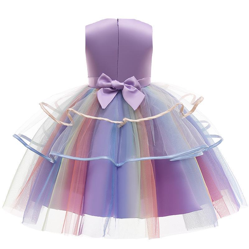 Filles longues longueur fête robe girl girl Licorne robe bébé sans manches jupes à manches enfants enfants col rond robe pleine robe FMF 014