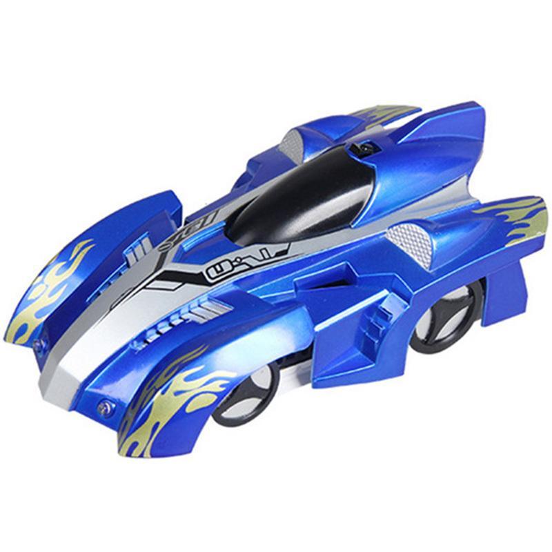 Пульт дистанционного управления взбираясь Радиоуправляемыми со светодиодными огнями 360 градусов вращающегося Stunt игрушки Antigravity машина стена автомобиль подарки Синей