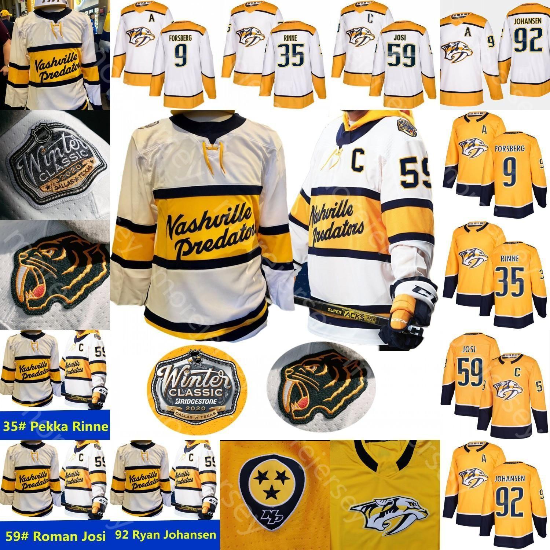 2021 2020 Nashville Predators Preville Jersey de hockey sur glace Pekka Rinne Ryan Johansen Filip Forsberg Roman Josi Matt Duchene Tout cousu et broderie