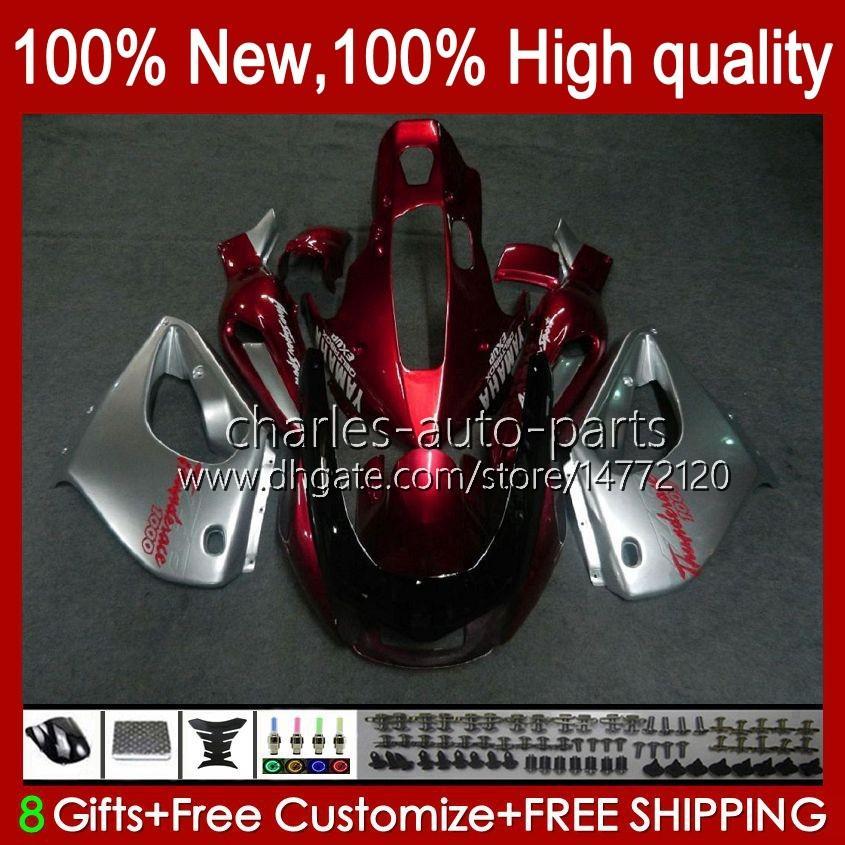 Corpo para Yamaha Yzf1000r Thunderace 96 97 98 99 00 01 07 96HC.25 YZF-1000R Red Silvery YZF 1000R 2002 2003 2007 2007 Fairings Kit