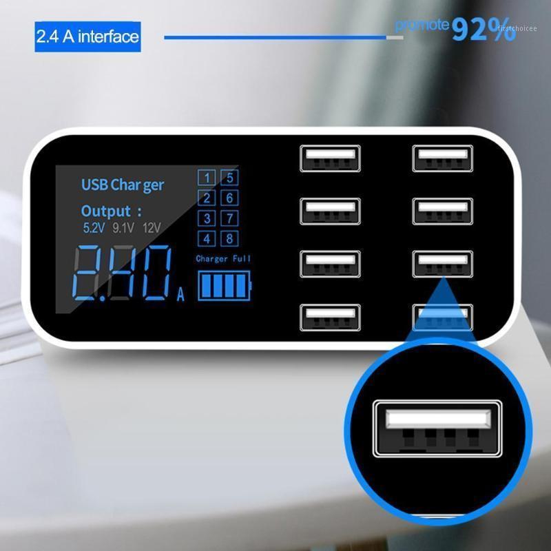 Caricabatterie USB 8 PORTA HUB QC 3.0 Caricabatterie rapido con LCD USB3.0 Tensione per il display mobile Dock multiplo Stazione telefono Ricarica C5F01