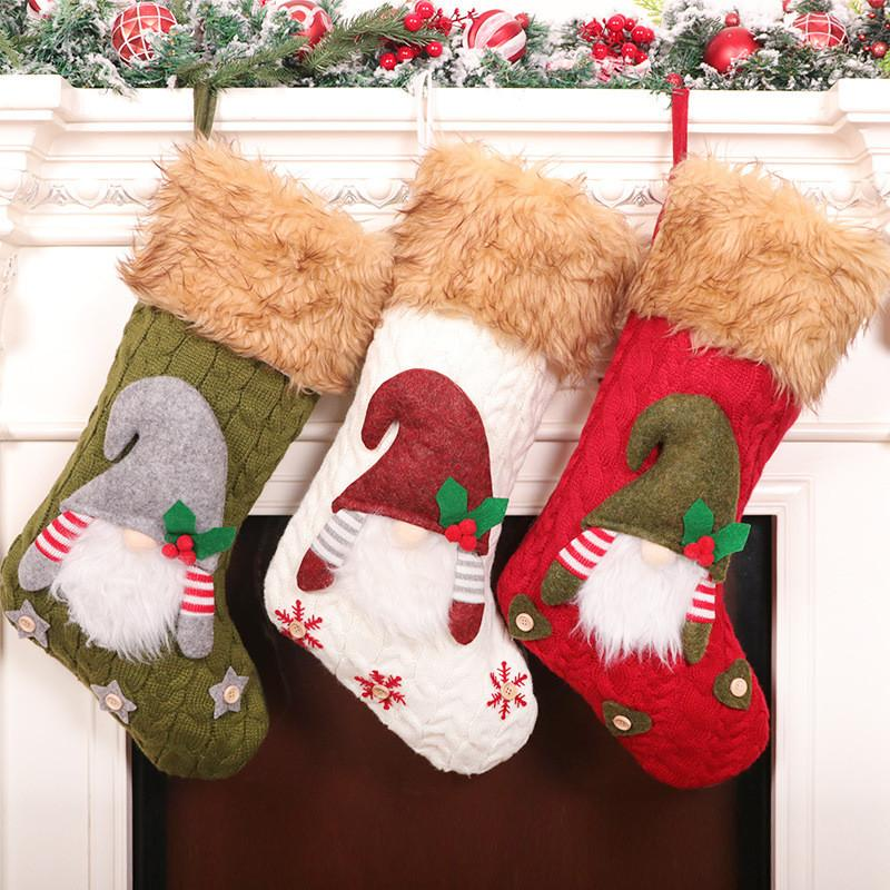 Faceless Puppe Stricken Trumpf Große Weihnachts gestrickte Faceless Sankt Gnome Puppe Socken Süßigkeit-Geschenk-Beutel Weihnachtsdekoration