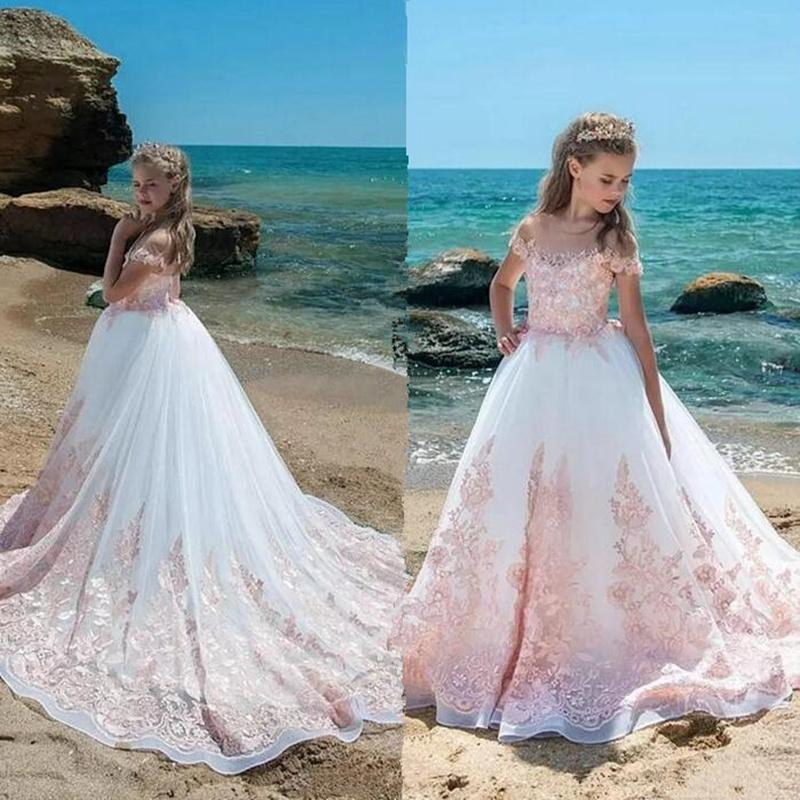 Pink High Low Flower Girl Dresses For Wedding Lace Applique Ruffles Girls Pageant Gowns Sweep Train Children Prom Party Dresses