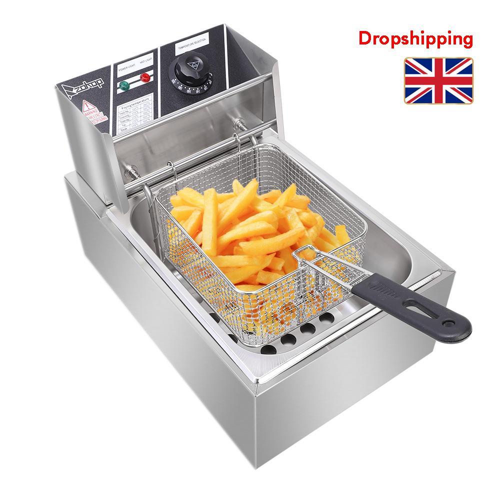 Stock au Royaume-Uni Friteuse électrique Cuisine inoxydable Cylindre simple en acier Friture machine 2500W 220-240V 6.3QT / 6L Dropshipping