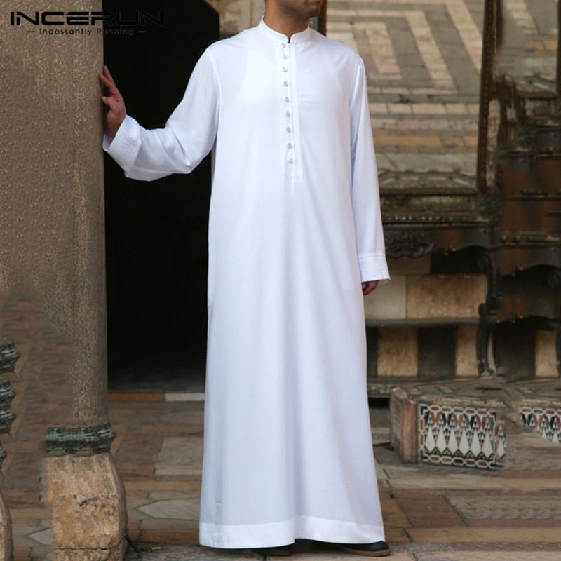 Roupas étnicas Homens Muçulmanos Jubba Thobe Manga Longa Cor Sólida Robes Respiráveis 2021 Stand Colar Islâmico Árabe Kaftan Abaya S-5XL Incerun