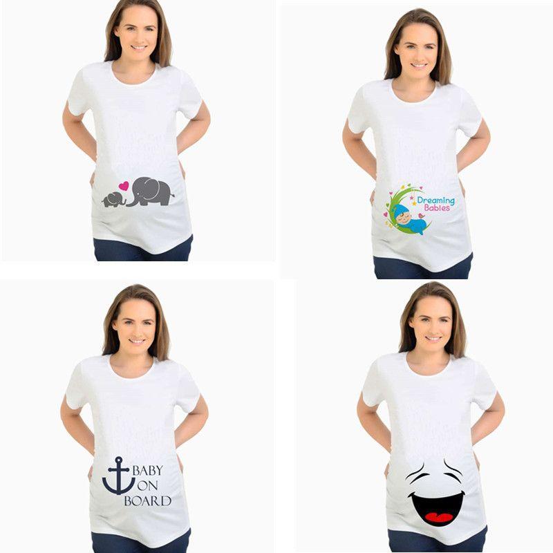Материнские тройники любят мать и ребенок слон печатают смешные родильные вершины футболки одежда беременных футболки хлопчатобумажные женщины беременности LJ201125