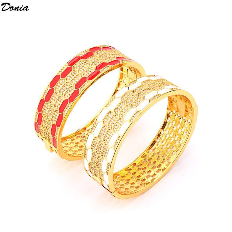 Braccialetto Donia Jewelry Designer Braccialetto con cinturino in acciaio in titanio classico micro braccialetto zircone intarsiato per uomo e donna Braccialetto di lusso