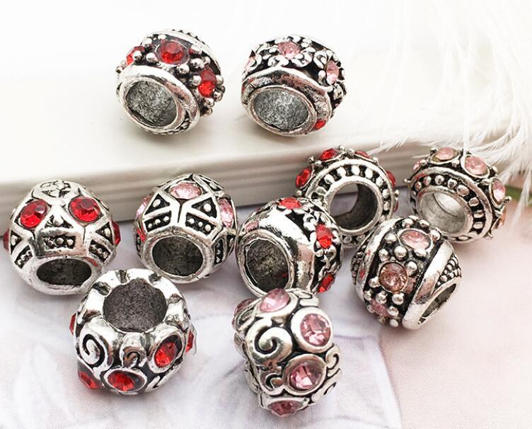 Panjia Big Hole Tibetan Silver Aleación suelta Beads 1 Pulsera Accesorios Tibetan Silver Agujero grande con incrustaciones con perlas de diamante