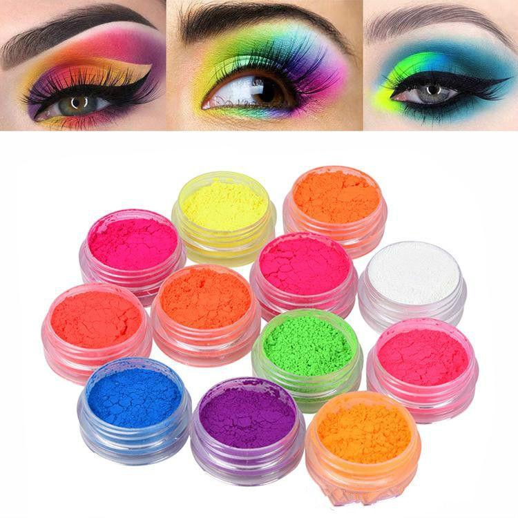 Hot Sale 12 Pcs/set Fluorescence Power Eyeshadow Makeup Long Lasting Pigment Eyeshadow Nail Glitter Powder Waterproof Eye Shadow Cosmetics